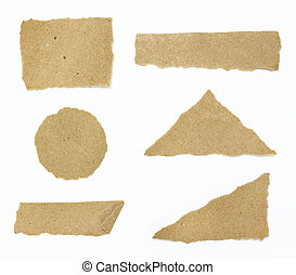 Set of textured recycle torn edges paper over white