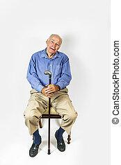 Feliz, Idoso, homem, sentando, cadeira