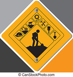 construction design over gray background vector illustration...