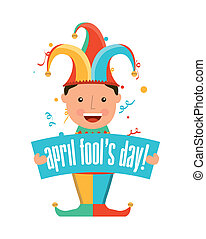 april fools day over white background vector illustration