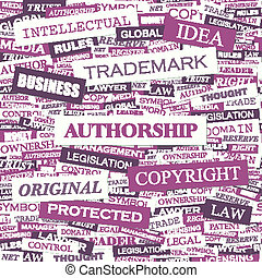 AUTHORSHIP. Word cloud concept illustration. Wordcloud...