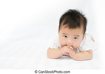 Asian baby girl on isolated white background - Asian baby...