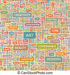 ART. Seamless pattern. Concept related words in tag cloud....
