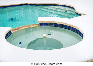 Outdoor hot tub in the winter - Outdoor hot tub or spa by...