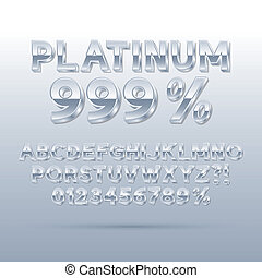 Platinum Silver Font and Numbers, Eps 10 Vector, Editable...