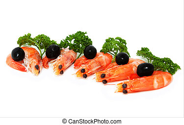 shrimp with parsley and olives on a white background