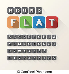 Bold Flat Font and Numbers in Rounded Square, Eps 10 Vector,...