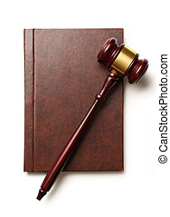 Judge's gavel and book - Wooden gavel and blank book