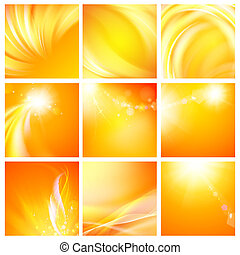 Set of nine abstract backgrounds Vector Illustration