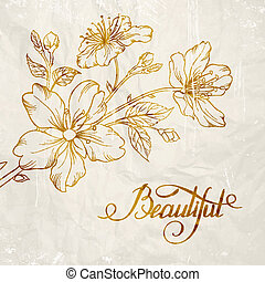Calligraphy cherry blossom Beautiful Vector illustration