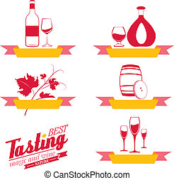 Labels set of drinks for restaurant and cafe. Vector...