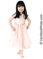 Portrait of Happy asian cute gril isolate on white...
