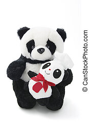 Soft Toy Panda with Baby on White Background