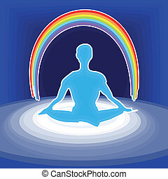 power meditation - illustration of the meditating person...