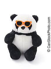 Soft Toy Panda with Sunglasses on White Background