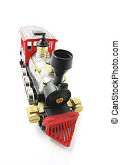 Miniature Train Model on Isolated White Background