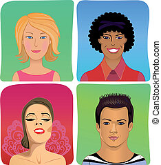 Man woman profile avatar vector set - Vector illustration of...