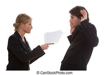 Boss angry with his employee - Conflict between an employee...