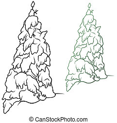 Winter Coniferous Tree - Outline Illustration, Vector