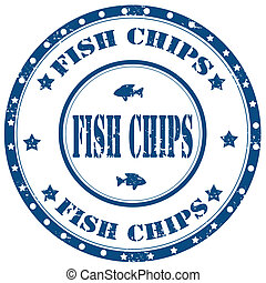 Fish Chips-stamp - Grunge rubber stamp with text Fish...