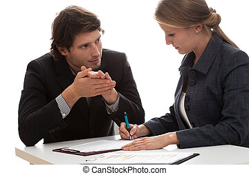 Insurance agent talking with a new client