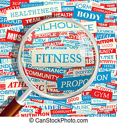FITNESS. Concept related words in tag cloud. Conceptual...
