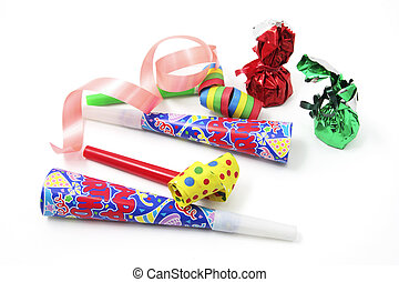 Chocolate Lollies and Party Favors on White Background