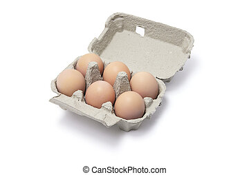 Eggs in Egg Carton on White Background