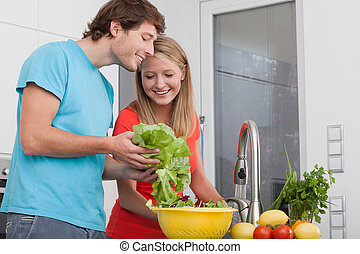 Doing diet lunch - Couple doing diet lunch with different...