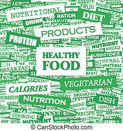 HEALTHY FOOD. Concept illustration. Graphic tag collection....