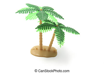 Miniature Plastic Palm Tree on White Background