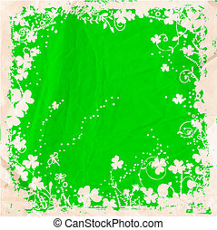 St Patrick day card, white grunge frame with clovers and...