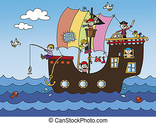 pirate ship - illustration of pirate ship with funny...