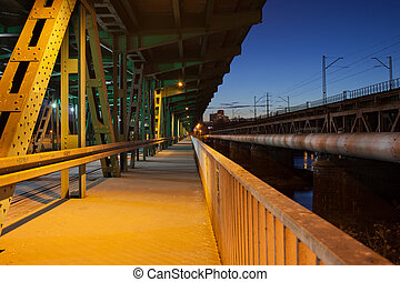 Pedestrian Path on a Bridge at Night - Pedestrian path in...