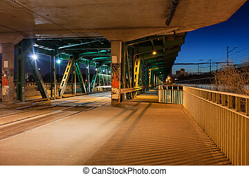 Bridge Tram Stop at Night - Tram stop in the lower part of...