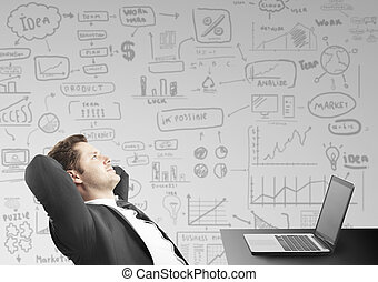 businessman sitting in office and thinking business concept