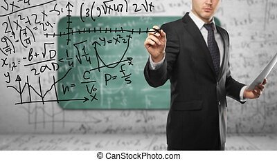 mathematical formula - businssman drawing mathematical...