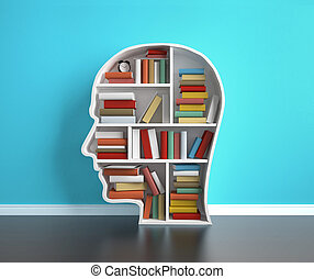 education - bookshelf head with colored book