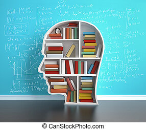 education concept - bookshelf head with colored book,...