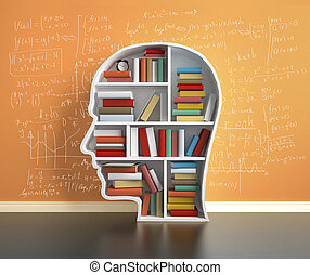 bookshelf head with many book
