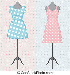 Different vintage dresses on a mannequin. Vector...