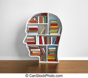 library - bookshelf head with many book in library