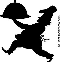 Cook silhouette - Silhouette of a chef with a dish on a...
