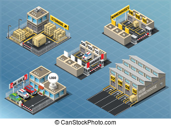 Isometric Set of Storage Buildings - Detailed illustration...