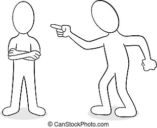 two people are of different opinion - vector illustration of...