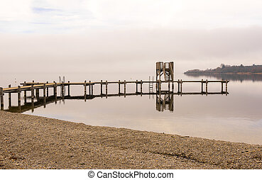 Wooden Dock With Shore During Winte - Wooden Dock with Birds...