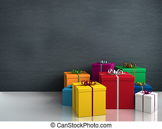 a lot of colorful gifts - a lot of bright colorful gifts for...