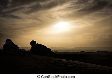 solnedgång, marockansk, öken