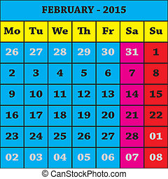 2015, 2 月, カレンダー, ISO, 8601