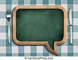 menu chalkboard on table - menu chalboard on table in shape...